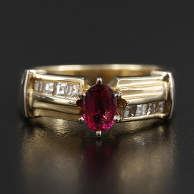 14K Yellow Gold Tourmaline Ring with Diamond Shoulders and White Gold Accents