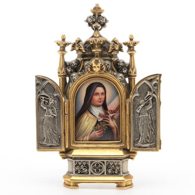Miniature Portrait of St. Therese  of Lisieux in Gothic Revival Tabernacle Frame