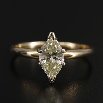 14K Yellow Gold 0.90 CT Diamond Solitaire Ring