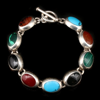 Vintage Mexican Sterling Silver Turquoise and Gemstone Bracelet