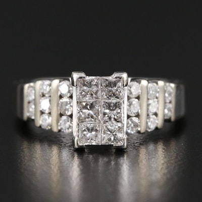 14K White Gold Invisibly Set 1.03 CTW Diamond Ring