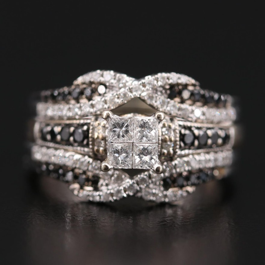 10K and 14K White Gold 1.05 CTW Diamond Ring and Jacket Set with Black Diamonds