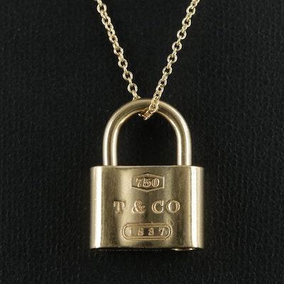 "Tiffany & Co. ""1837"" 18K Gold Padlock Pendant with Elsa Peretti Chain Necklace"