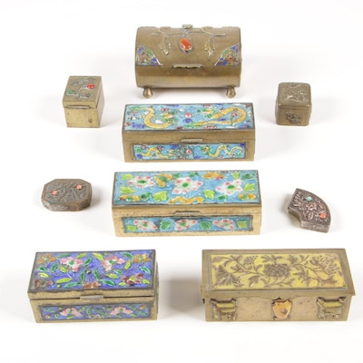 Chinese Enameled Brass Stamp Boxes with Assorted Box Collection