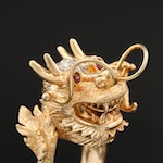 Asian Style 18K Gold Diamond and Ruby Figural Dragon Ring