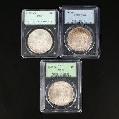 1881-S, 1885-O, and 1902-O PCGS Graded MS63 Silver Morgan Dollars