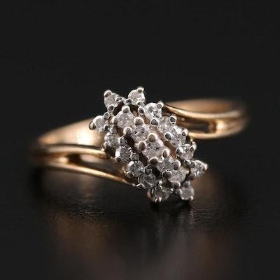 10K Yellow Gold Diamond Waterfall Ring