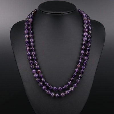 "37"" Endless Amethyst Bead Necklace"