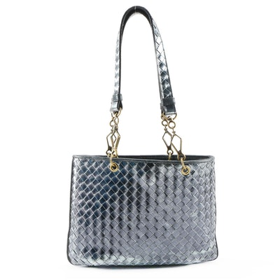 Bottega Veneta Metallic Navy Blue Intrecciato Leather Shoulder Bag