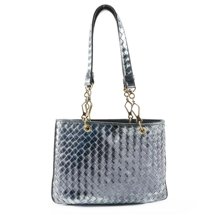Bottega Veneta Metallic Navy Blue Intrecciato Leather Shoulder Bag