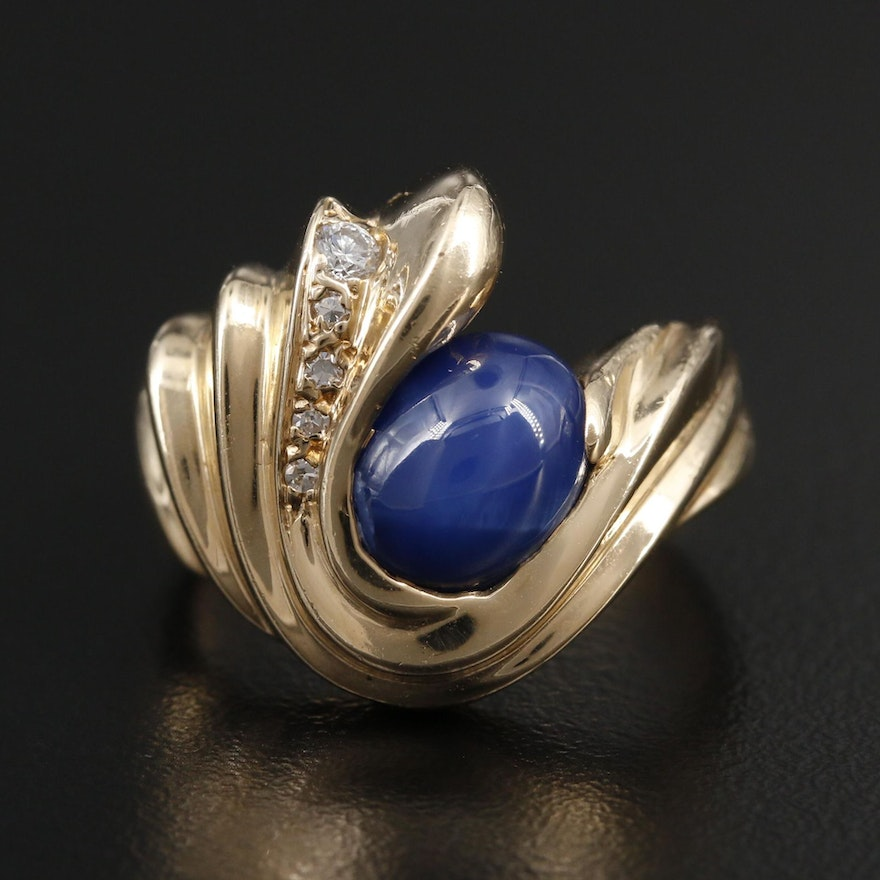 14K Yellow Gold Star Sapphire and Diamond Ring