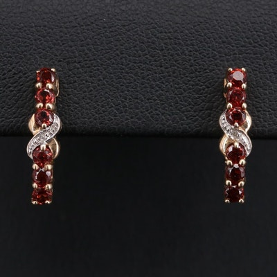 10K Yellow Gold Garnet and Diamond Drop Earrings