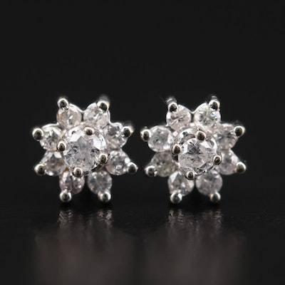 14K White Gold 0.43 CTW Diamond Earrings