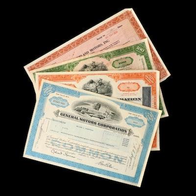 Four Vintage Stock Certificates
