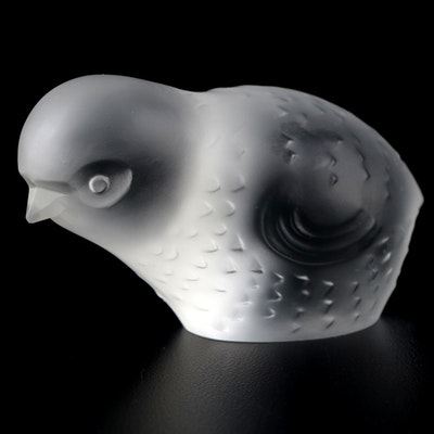 Baccarat Frosted Crystal Bird Figurine