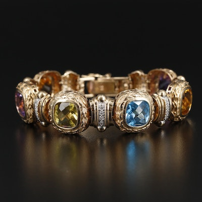 14K Yellow Gold Diamond and Gemstone Bracelet