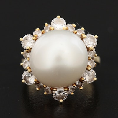 18K Yellow Gold Cultured Pearl and 1.38 CTW Diamond Ring