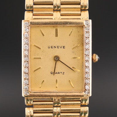 Vintage Geneve 14K Gold and Diamond Quartz Wristwatch