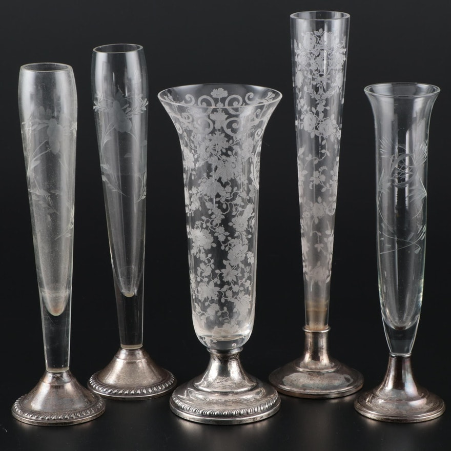 American Etched Glass Vases with Weighted Sterling Silver Bases