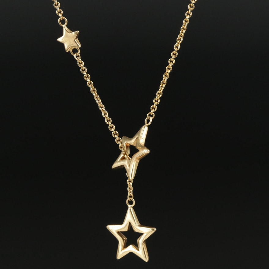 18K Yellow Gold Star Lariat Necklace