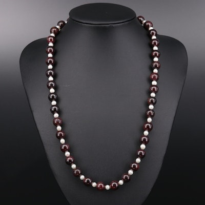 Pearl and Beaded Garnet Necklace With Sterling Silver Clasp