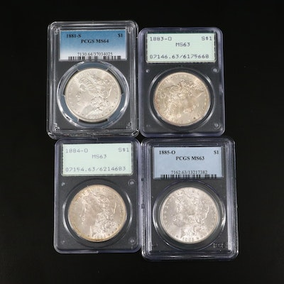 Four PCGS Graded Silver Morgan Dollars Including 1881-S and 1885-O