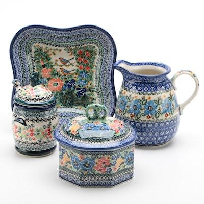 """Unikat Bolesławiec Polish Pottery Designed by M. Starzyk """"Peaceful Garden"""", 2008"""