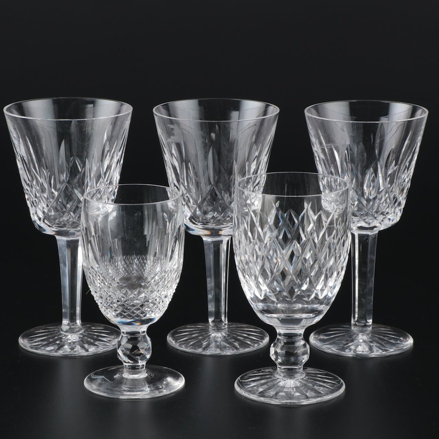 """Waterford Crystal """"Lismore,"""" """"Colleen,"""" and """"Boyne"""" Claret Wine Glasses"""