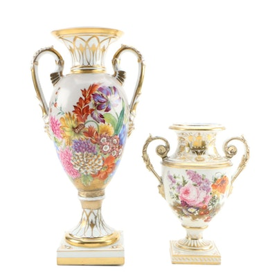 Derby and Dresden Floral Painted Gilt Porcelain Urns, 1815 and 1902