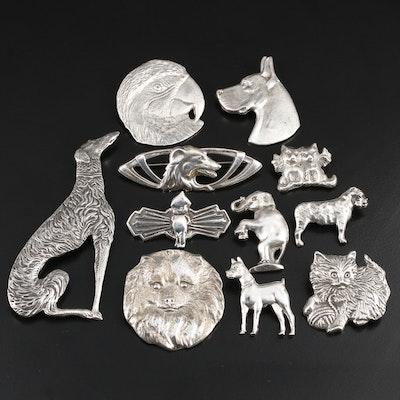 Animal Themed Sterling Brooch Assortment