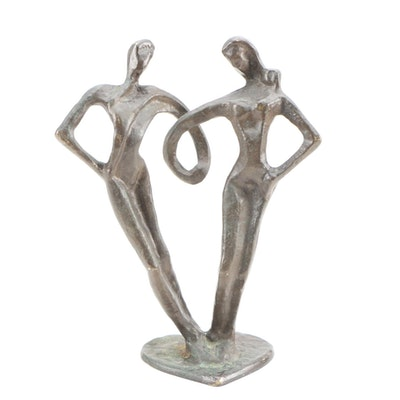 Man and Woman Bronze Finish Brass Figural Sculpture