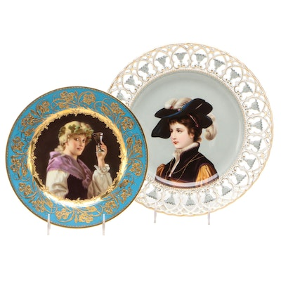 Sevres and Vienna Style Hand Painted Portrait Cabinet Plates