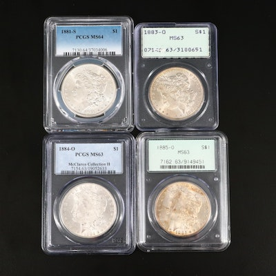 Four PCGS Graded Silver Morgan Dollars Including 1881-S, 1883-O, and 1885-O
