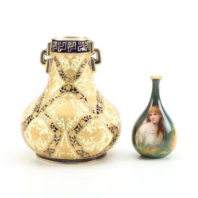Royal Crown Derby Porcelain Vase and Royal Schwarzburg Miniature Portrait Vase