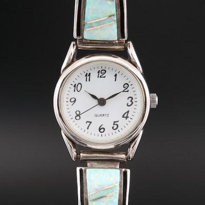 Quartz Wristwatch On a Navajo Sterling Silver and Opal Bangle Bracelet