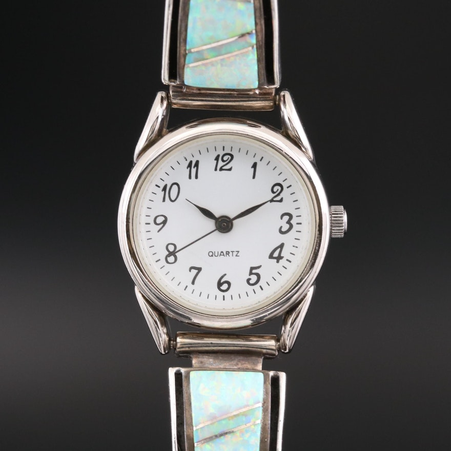Quartz Wristwatch On a Navajo Sterling Silver and Opal Bangle Bracelet