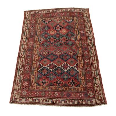 3'6 x 5'1 Hand-Knotted Caucasian Kazak Rug, 1900s