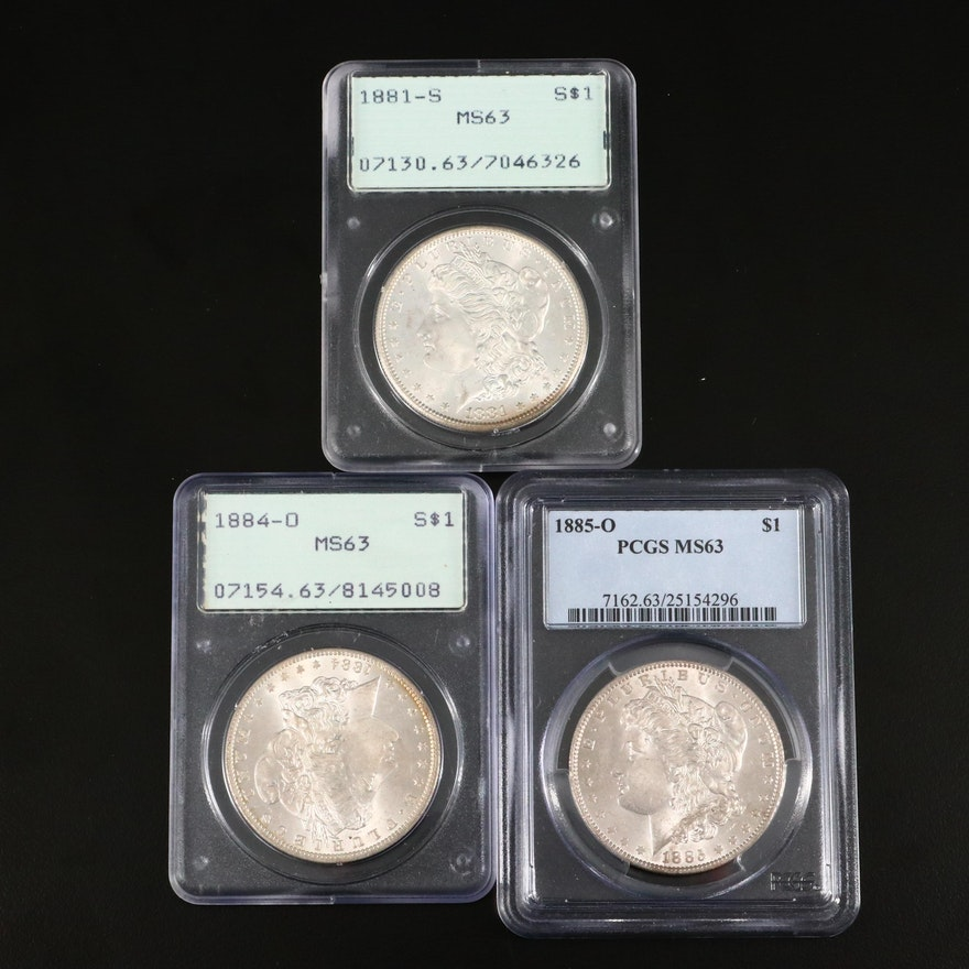 Three PCGS Graded Silver Morgan Dollars Including 1881-S, 1884-O, and 1885-O