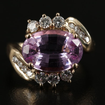 18K Yellow Gold Pink Topaz and Diamond Ring