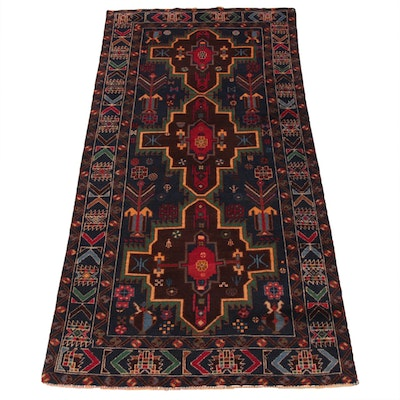 3'4 x 6'8 Hand-Knotted Persian Baluch Rug, 2000s