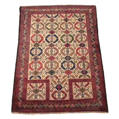 2'11 x 4'2 Hand-Knotted Persian Baluch Prayer Rug, 2000s