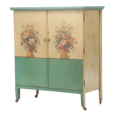 Polychrome-Decorated Enclosed Eight-Drawer Chest, Early to Mid 20th Century