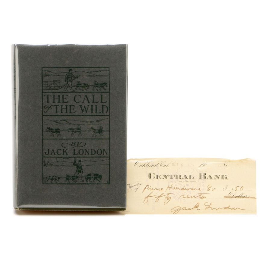 """Early Printing """"The Call of the Wild"""" by Jack London with Signed Check, 1903"""