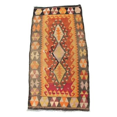 1'10 x 3'11 Handwoven Turkish Yastik Kilim, 1920s