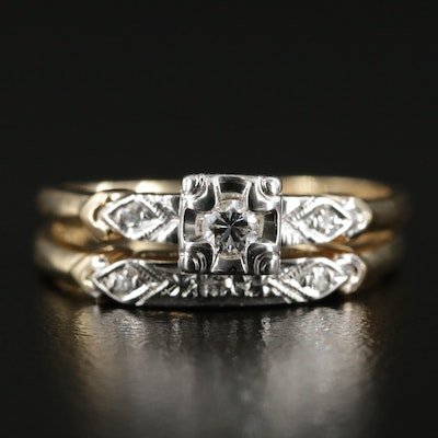Vintage 14K Yellow Gold Diamond Ring Set