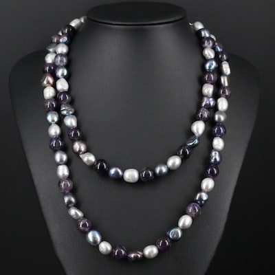Amethyst and Pearl Necklace With Sterling Silver Clasp