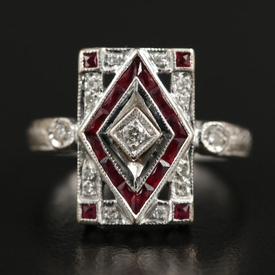 Art Deco Style 14K White Gold Diamond and Ruby Ring