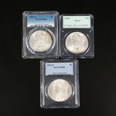 Three PCGS Graded Silver Morgan Dollars Including 1881-S and 1902-O