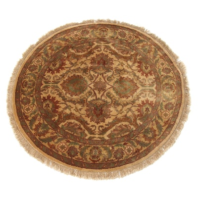 4'3 x 4'3 Hand-Knotted Indo-Persian Tabriz Round Rug, 2000s