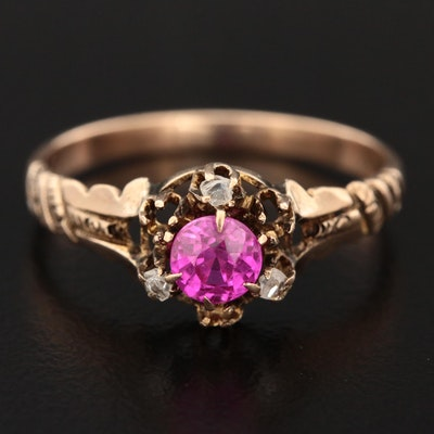 Victorian 10K Yellow Gold Ruby and Diamond Ring